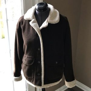 Columbia Sheepskin Look Coat Brown M EUC